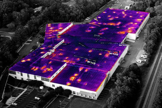 analiza temperatury dachu budynku dzieki kamerze FLIR VUE PRO